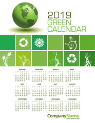 An Elegant 2019 Green Calendar with Space for Type.
