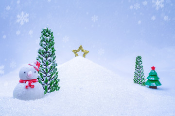 Christmas background with snowman, and falling snow, close-up.