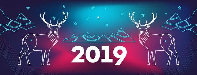 New Year's cover for a site with deer, mountains and number 2019.  Wavy, geometric background, modern gradient, curved shape, in blue and red hues.