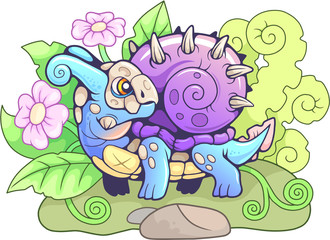 cartoon little cute snail dragon funny illustration