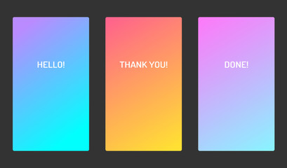 Vector pastel soft color ui design mobile app screen. Bright gradient. For applications, banners and landing pages