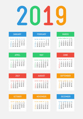 Vector 2019 new year calendar. Bright contrast design. The week starts on Sunday.