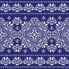 Blue and white floral seamless pattern. Vintage vector, paisley elements. Traditional,Turkish, Indian motifs. Great for fabric and textile, wallpaper, packaging or any desired idea.