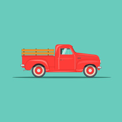 old modern beautiful american pickup. vector sign