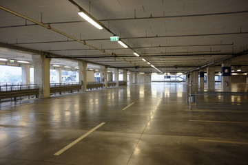 empty parking and covered shopping center