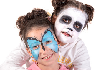 Girls with face-paint