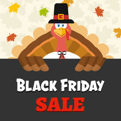 Pilgrim Turkey Bird Cartoon Mascot Character Over A Sign Black Friday Sale. Vector Illustration Flat Design Over Background With Autumn Leaves