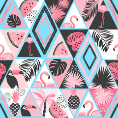 Printed kitchen splashbacks Watercolor Nature Seamless tropical pattern in patchwork style. Vector trendy background with flamingo, palm leaves.