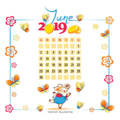 Calendar 2019 for June. Yellow pig with butterflies. Symbol of the year. Light background. Wonderful summer month. Design for printing on fabric or paper.
