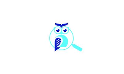 owl paper magnifier logo icon vector