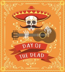 Mexican dead day poster. Latino mexico halloween day party card with skull, mexican hat and spanish guitar vector illustration