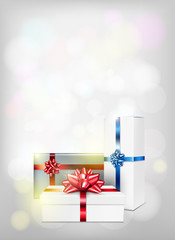 New year background with gift box and red bow