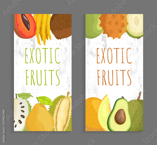 exotic fruit menu cover template for restaurant stock image and