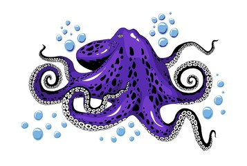 Cartoon violet purple octopus clip-art isolated on white background illustration