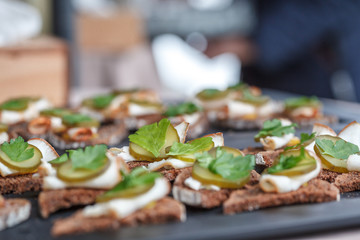 Snacks at the party. Rye bread, salo, parsley and pickled cucumber