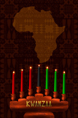 Kwanzaa. Concept of an African American festival in the United States. Kinara - wooden candle holder and 7 candles of traditional colors. Continent of Africa, ethnic patterns on the background.