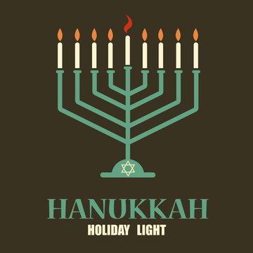 Hanukkah candles with menorah and david star. Festive background