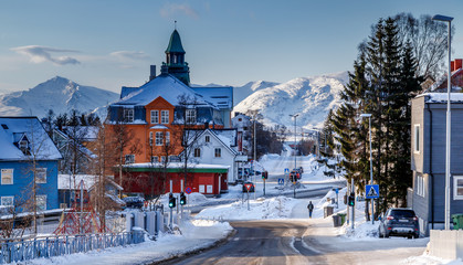 The city of Tromso in winter, North Norway.