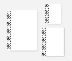 Side spiral empty white notepad mockup set - A4, A5, A6 sizes