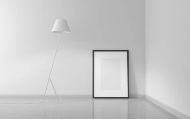 Minimalistic white interior background. Poster mockup with concrete floor and white wall. 3d illustration.