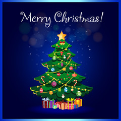 Merry Christmas greeting card of cute cartoon fir tree with gifts boxes
