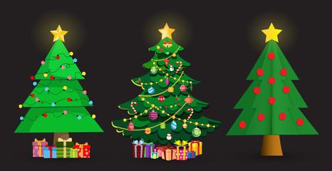 Set of cute cartoon Christmas fir trees on black background