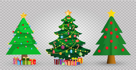 Set of cute cartoon Christmas fir trees on transparent background