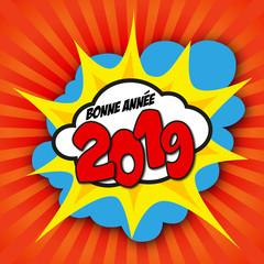 Carte de vœux 2019 façon pop art, avec un graphisme symbolisant l'énergie et la motivation pour commencer la nouvelle année