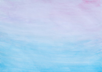 Abstract pink and blue watercolor gradient fill background with watercolour stains and paper texture.