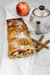Homemade apple strudel with nuts