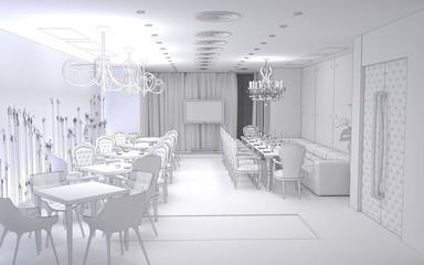 restaurant, interior visualization, 3D illustration