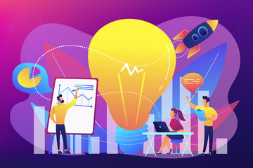 Business team brainstorm, lightbulb and rocket. Vision statement, business and company mission, business planning concept on ultraviolet background. Bright vibrant violet vector isolated illustration
