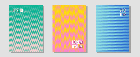 Cool flyers set, vector halftone poster backgrounds.