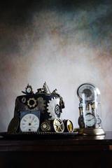 Steampunk cappello e campana di vetro orologi