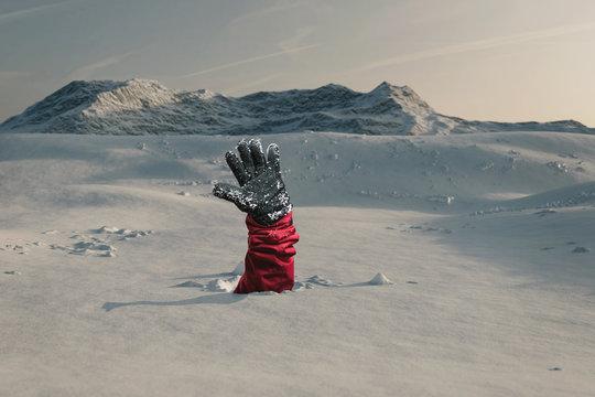 Hand streckt aus und signalisiert nach Hilfe