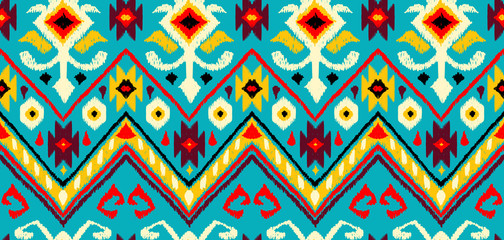 Wall Murals Boho Style Ikat geometric folklore pattern.