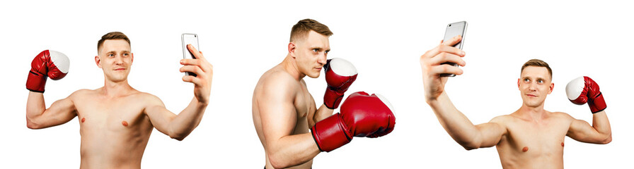Set of portraits of young guy boxer in boxing gloves isolated on white background