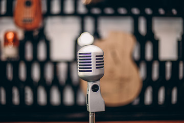 Retro vintage microphone for singer recording audio make the music and song in studio