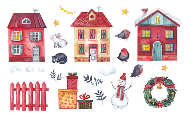 A large Christmas card set of Christmas elements in the form of houses, a snowman, a fence, bullfinches, a cat, a hare, gifts, stars, garlands.