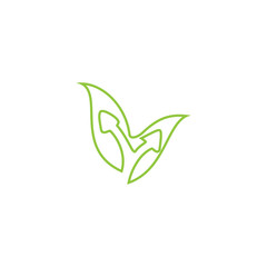 Leaf with up arrow logo design