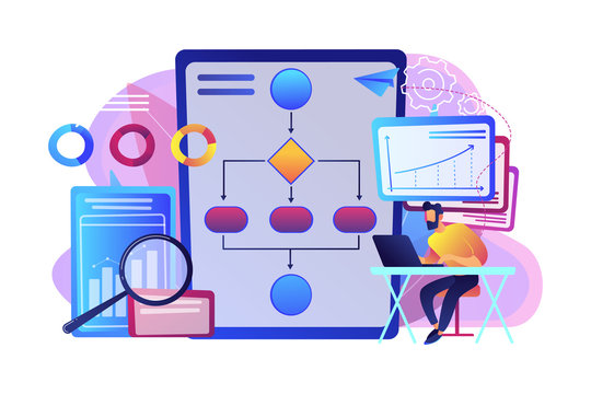 Analyst working at laptop with automation process. Business process automation, business process workflow, automated business system concept. Bright vibrant violet vector isolated illustration