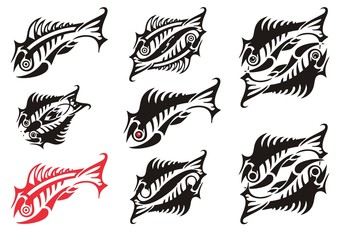 Abstract peaked skeleton fish symbols. Double fish symbols and flaming ornate fishes for your designs or business projects