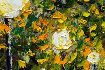 Original oil painting on canvas. Modern art. Beautiful Lanterns illuminate the trees in the night park