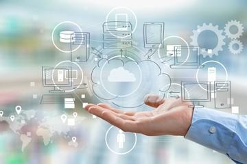 Cloud clouding business app sketch laptop network