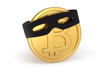 Bitcoin fraud: 3D render of a bitcoin with a thugs mask. Conceptual image. Isolated on white