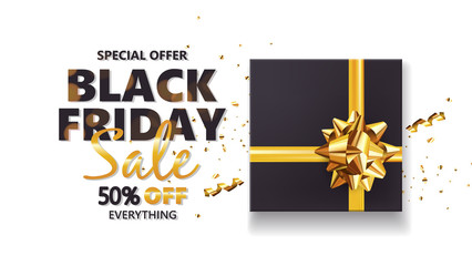 Black friday sale background with gift box and golden bow. Modern design.Universal vector background for poster, banners, flyers, card
