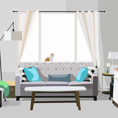 modern vector living room interior design. apartment illustration