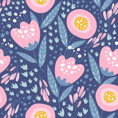 Seamless pattern with flowers. Design for fabric print.
