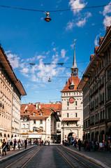 Kafigturm clock tower in old town of Bern, Switzerland