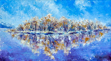 Oil Painting -  Frosty winter morning on the river - winter countryside landscape
